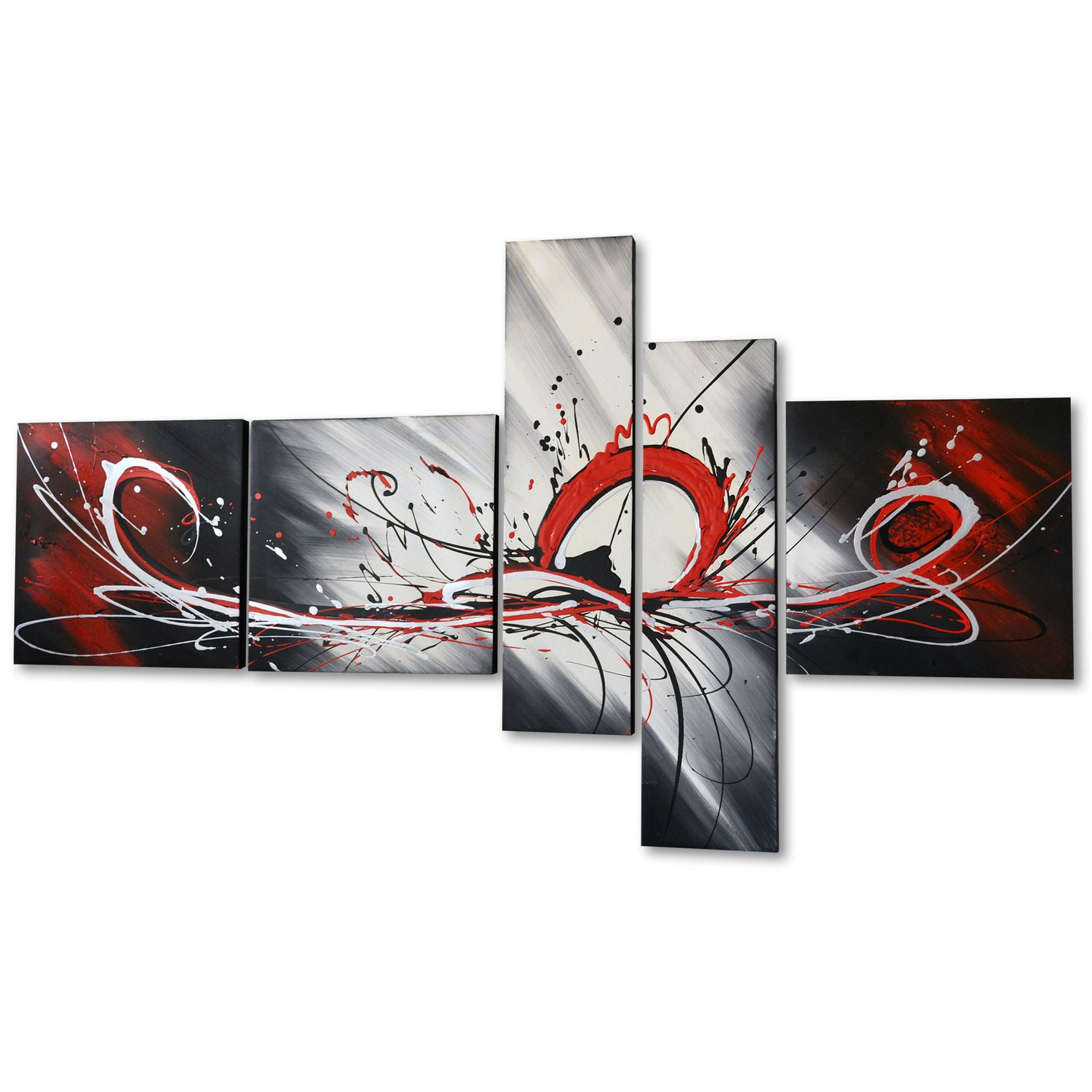 Design Art   Red Splash  Hand Painted Textured Oil Painting On Canvas  5  Piece Set  66 X36 In | Walmart Canada