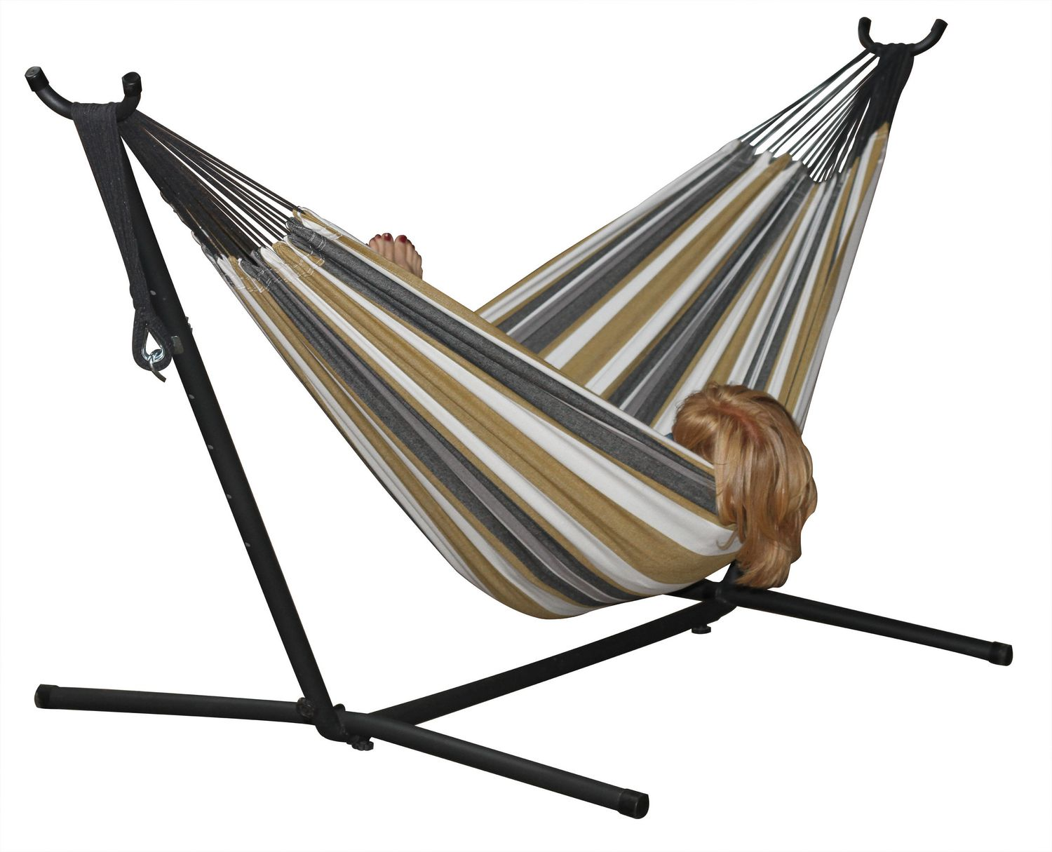 canopy with and hammock stands within wooden wood portable stand