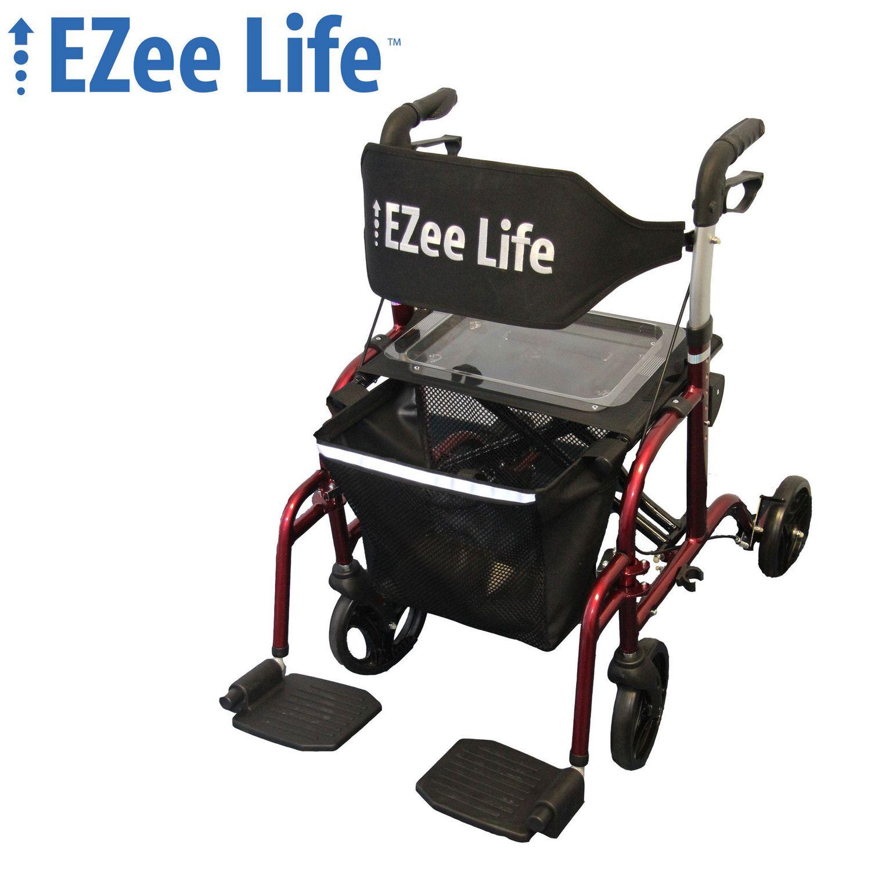 "Ezee Life 18 8"" Seat Width Folding Aluminum bination Rollator"