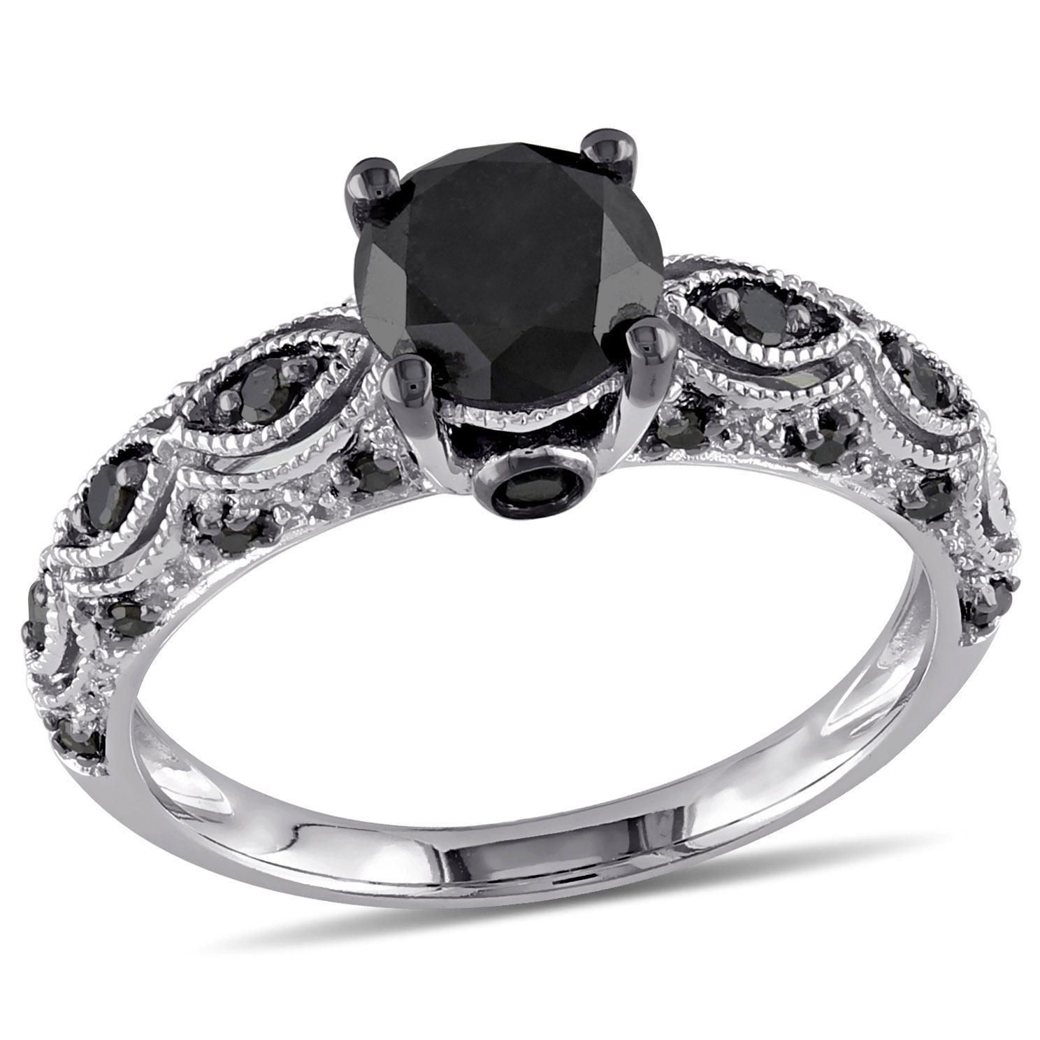1 25 Carat T W Black Diamond 10 K White Gold Engagement Ring