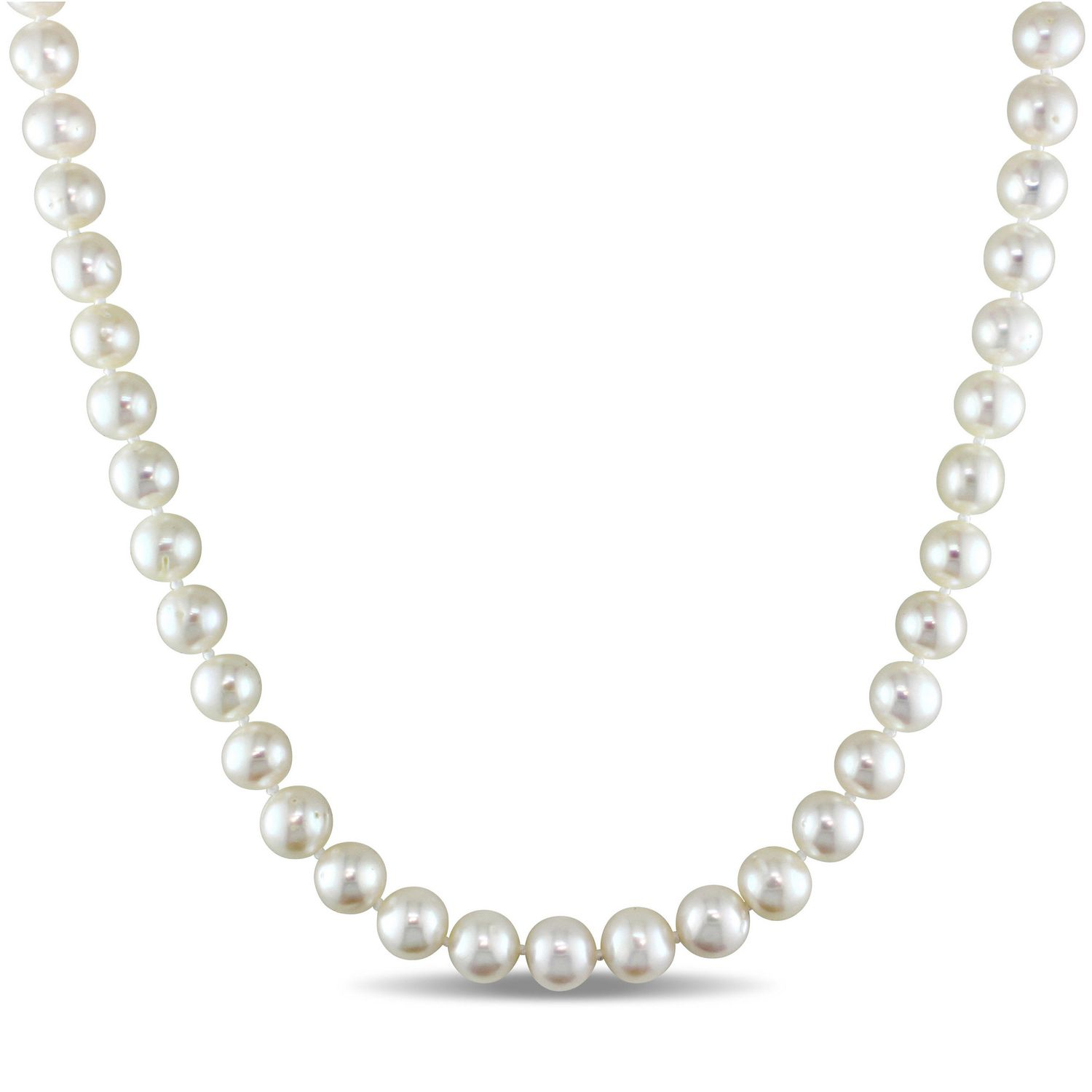 Sterling Silver White Cultured Pearl Necklace 16 Inches