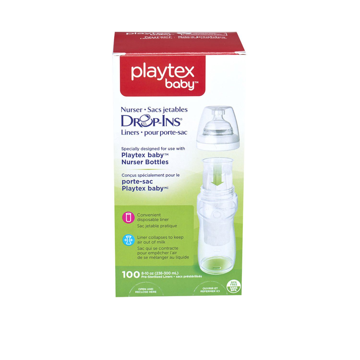 Playtex Drop-Ins Disposable Liners 8-Ounce 50 Each Pack of 9