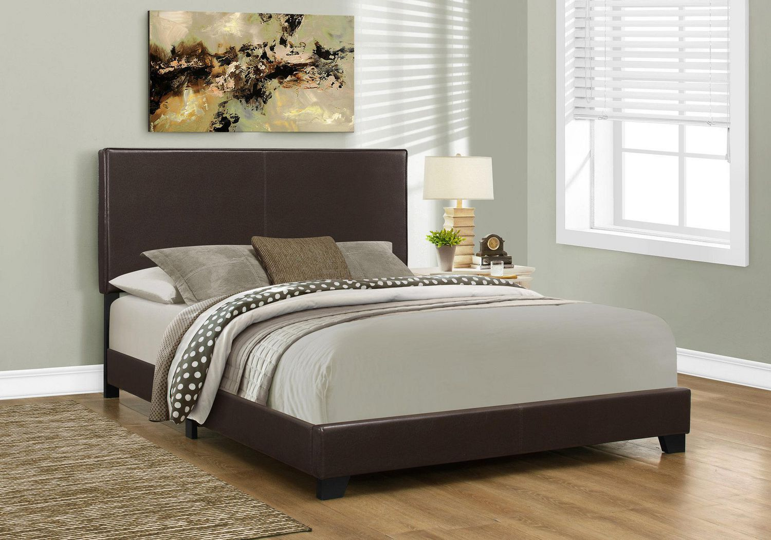 Monarch Specialties Dark Brown Leather Look Queen Bed Frame