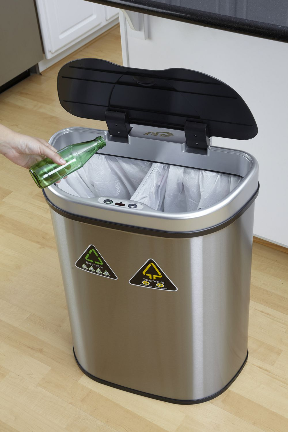 nine stars 185gallon motion sensor recycle unit and trash can stainless steel walmart canada