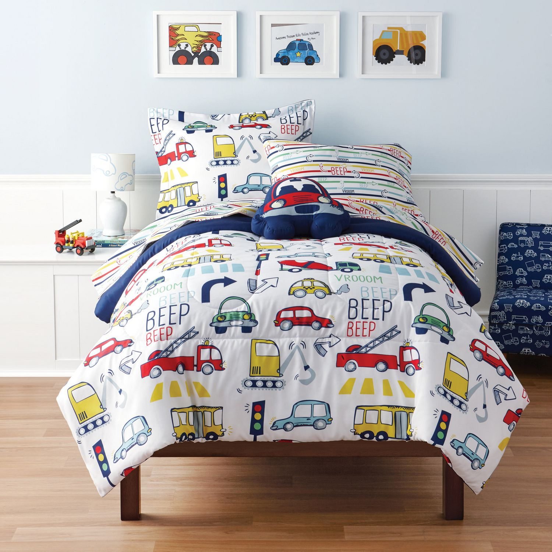 mainstays kids vroom twin bed set