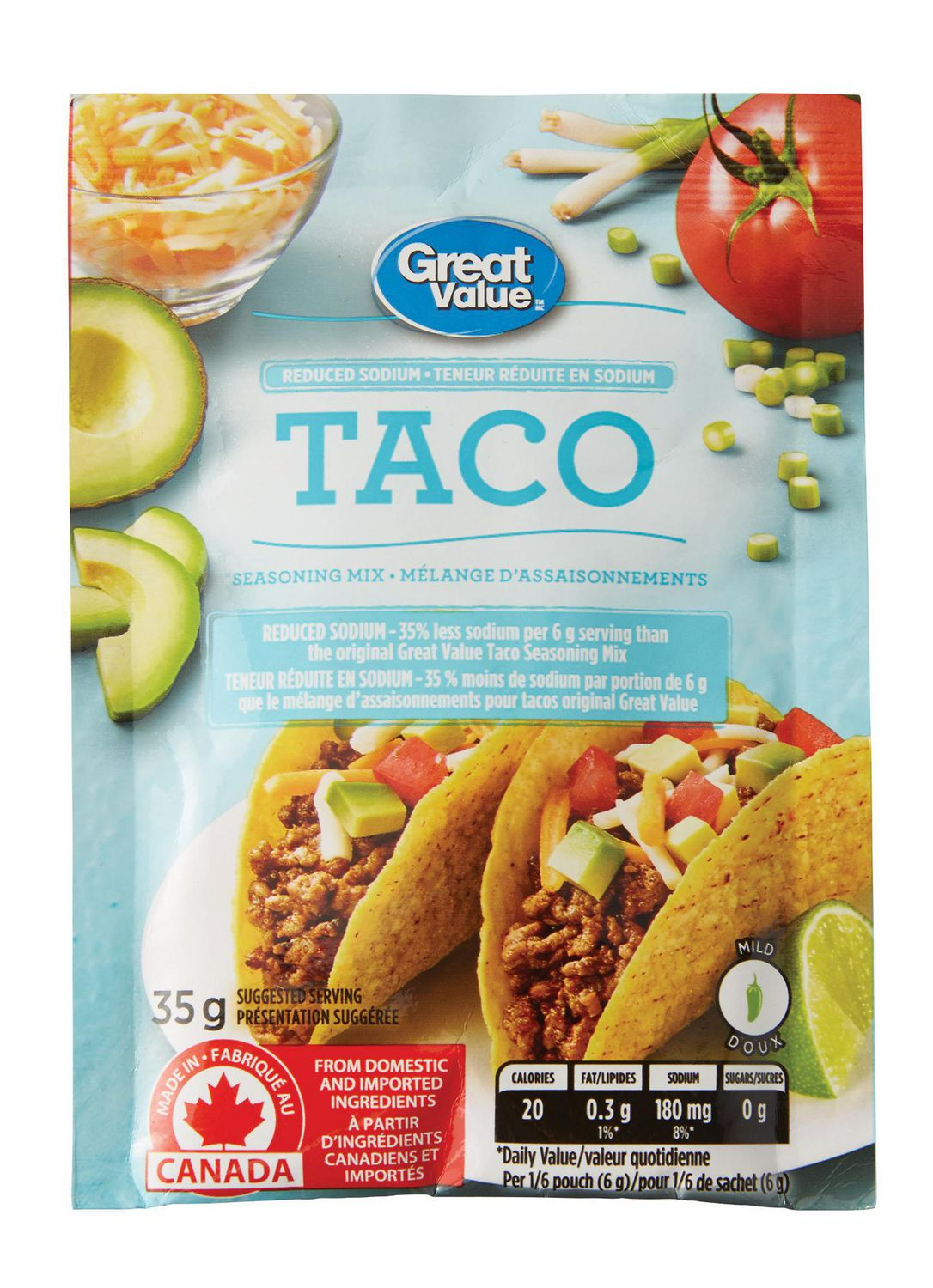 Great Value Low Sodium Mild Taco Seasoning Mix Walmart Canada
