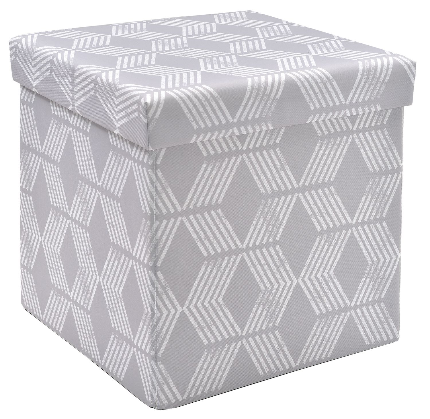 Awe Inspiring Fhe Group Red Label Foldable Storage Cube Grey Chevron Caraccident5 Cool Chair Designs And Ideas Caraccident5Info