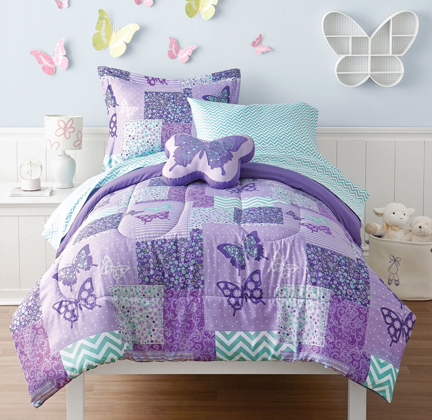 little bedding pink full pin comforter floral quilt daisy queen set butterfly twin girls bedspread blue
