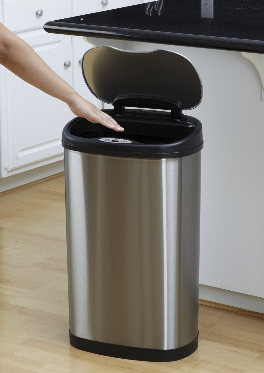 Kitchen Garbage Can Nine Stars Motion Sensor Oval Touchless 13 Gallon Trash Can