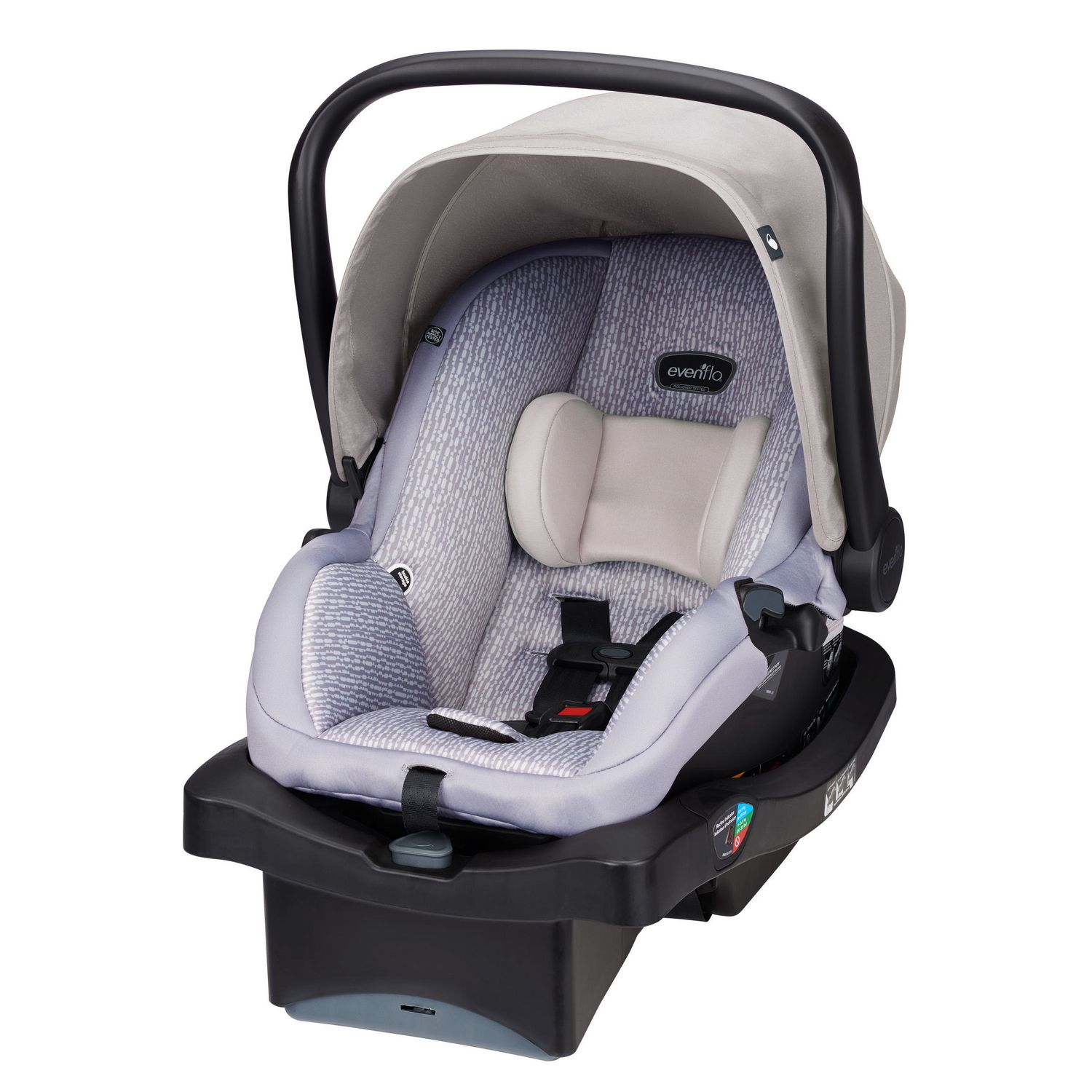 Black and tan Evenflo LiteMax infant car seat - best infant car seat