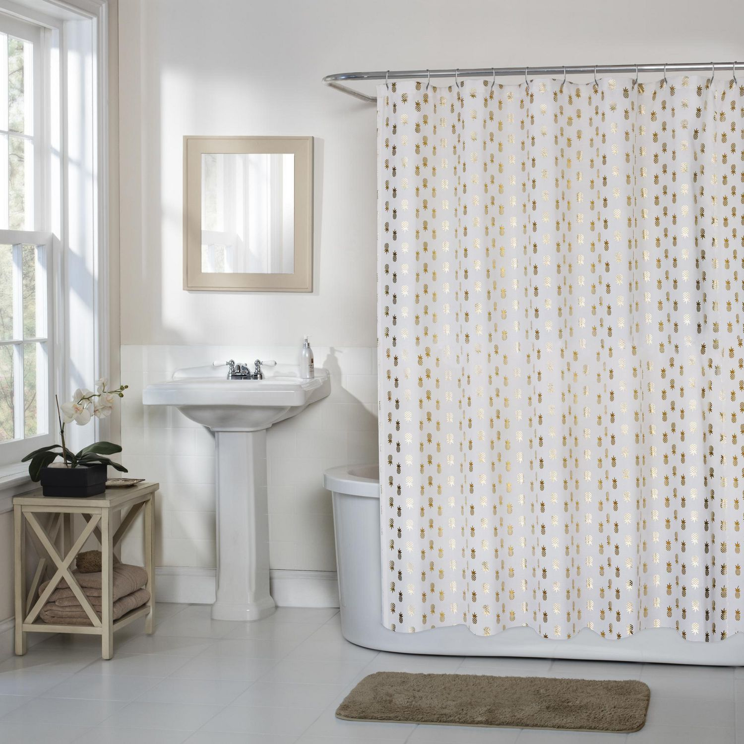 Pineapple Woven Textured Fabric Shower Curtain