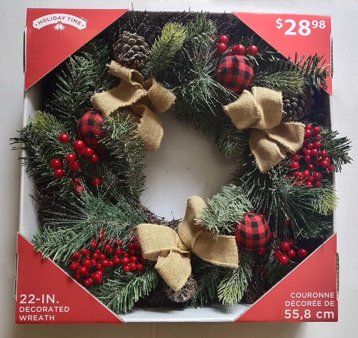 Holiday Time 22-IN. DECORATED WREATH | Walmart Canada