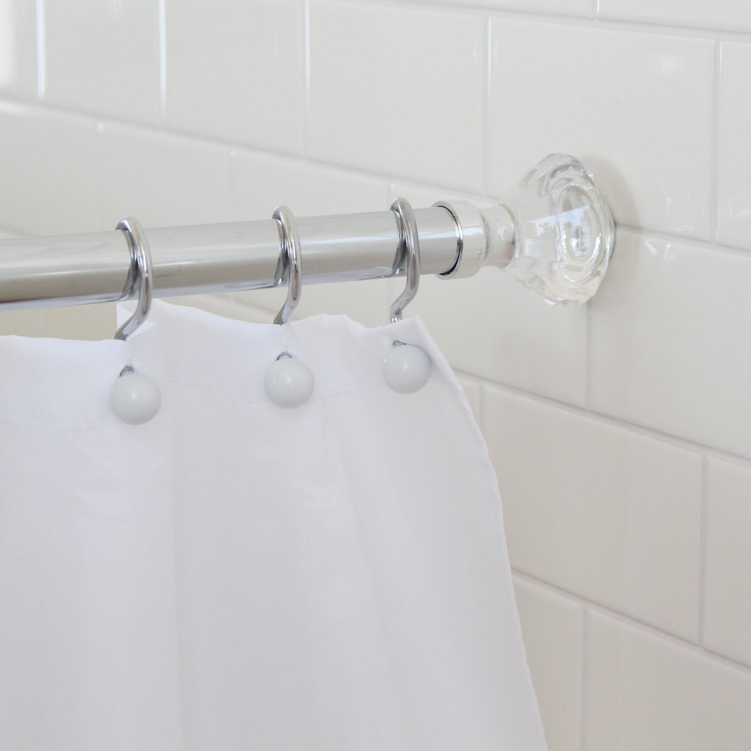 Splash Home Olena Neverrust Aluminum Constant Tension Bathroom Decorative Shower Curtain Rod Extendable 42 72 Inches