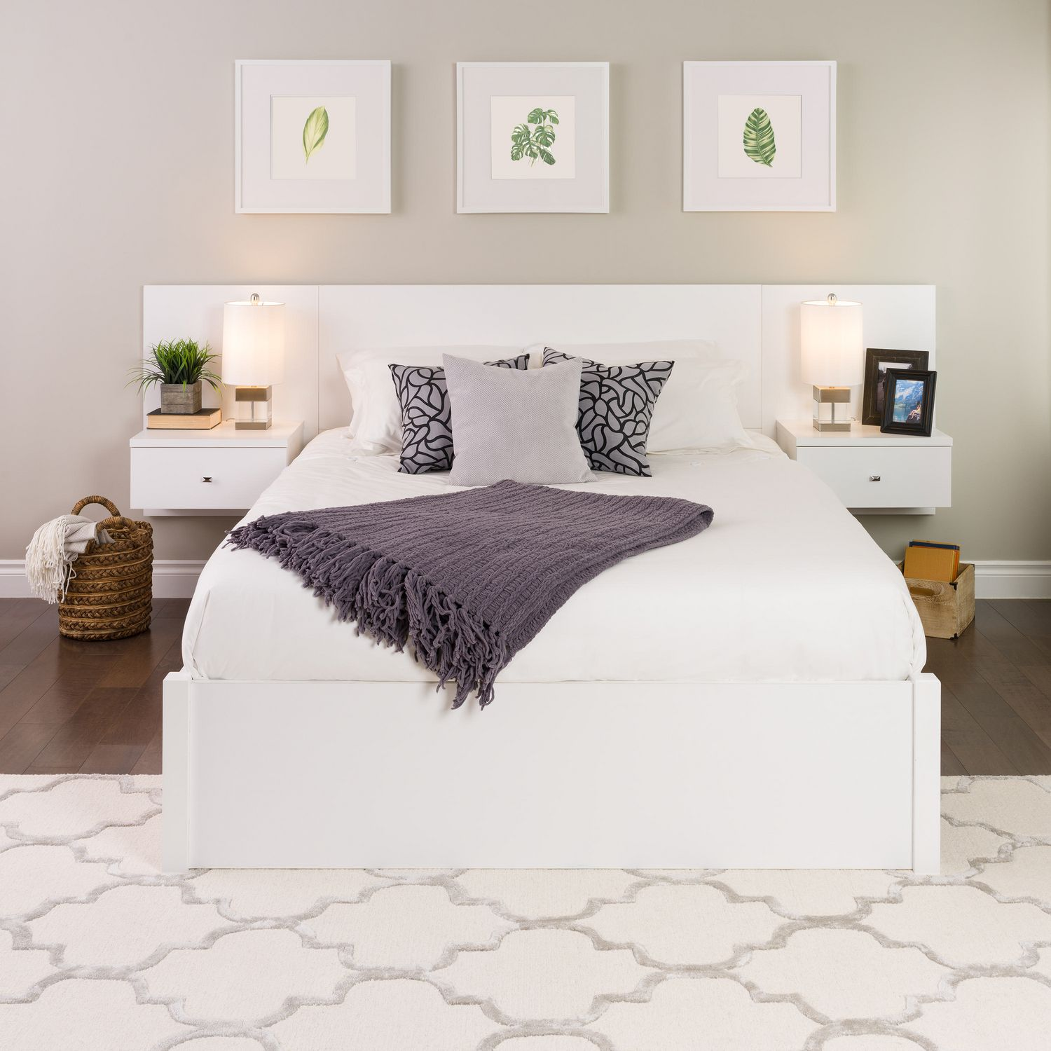 Prepac Floating White Queen Headboard With Nightstands