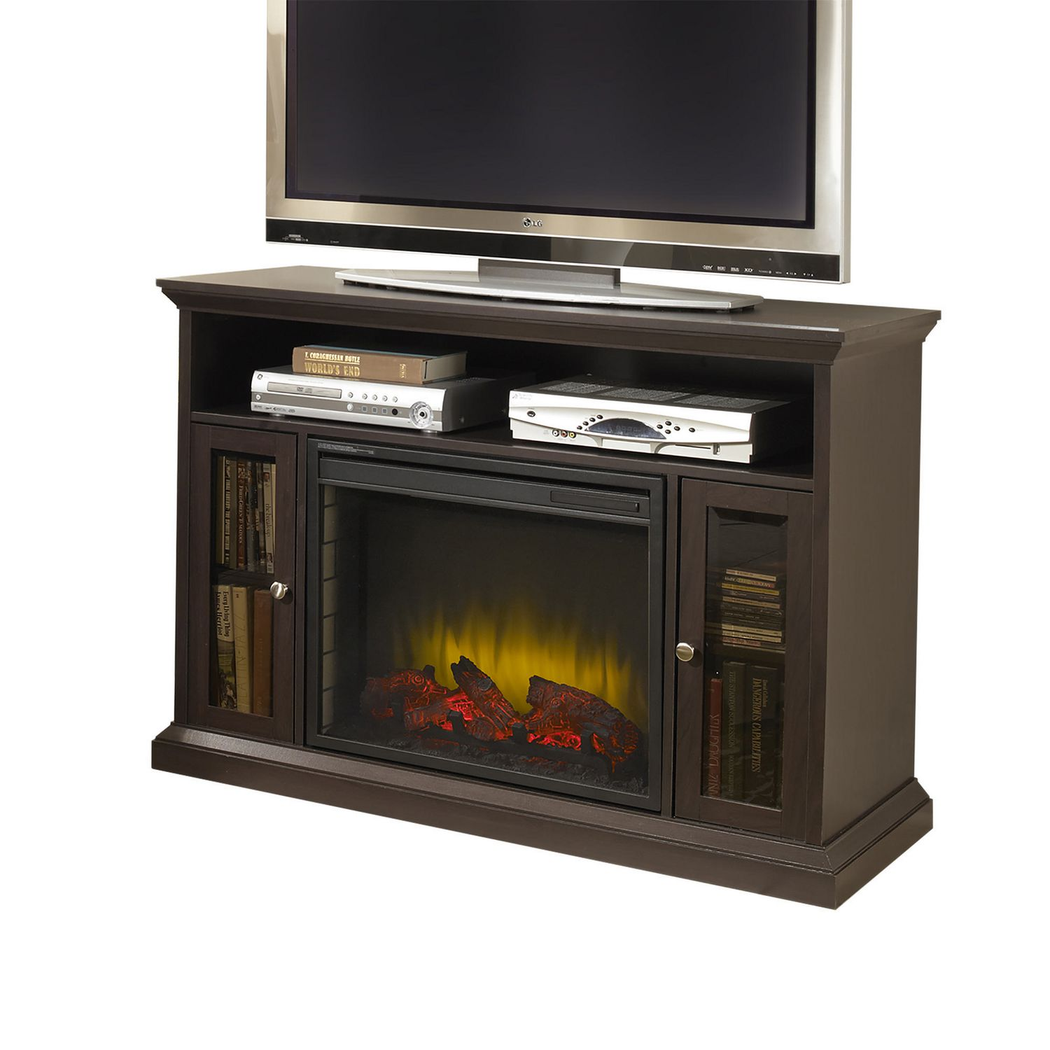 appealing for and picture up image console espresso to electric rustic styles hill chimney media trend tvs chestnut awesome trends fireplace inspiration in