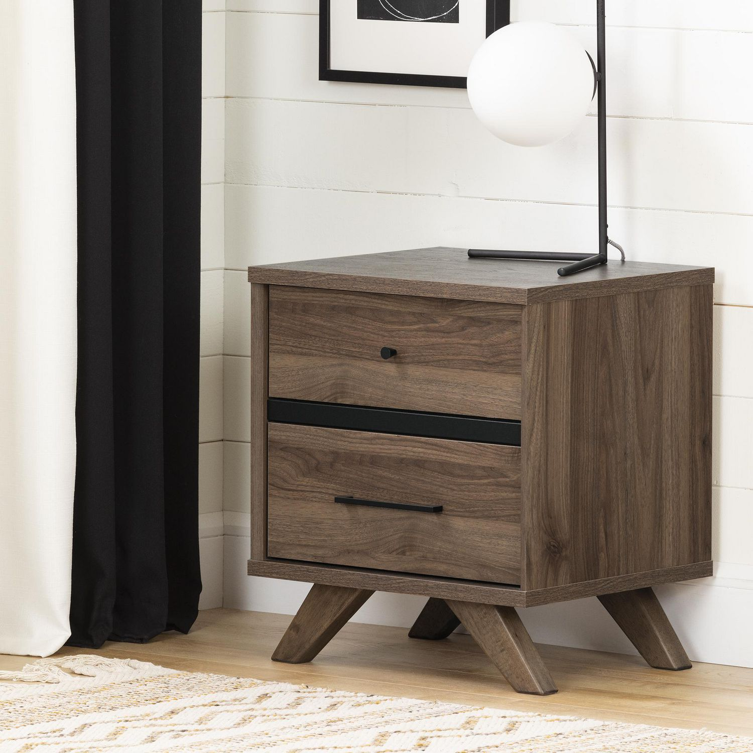 South Shore Flam 2 Drawer Nightstand Natural Walnut And Matte Black