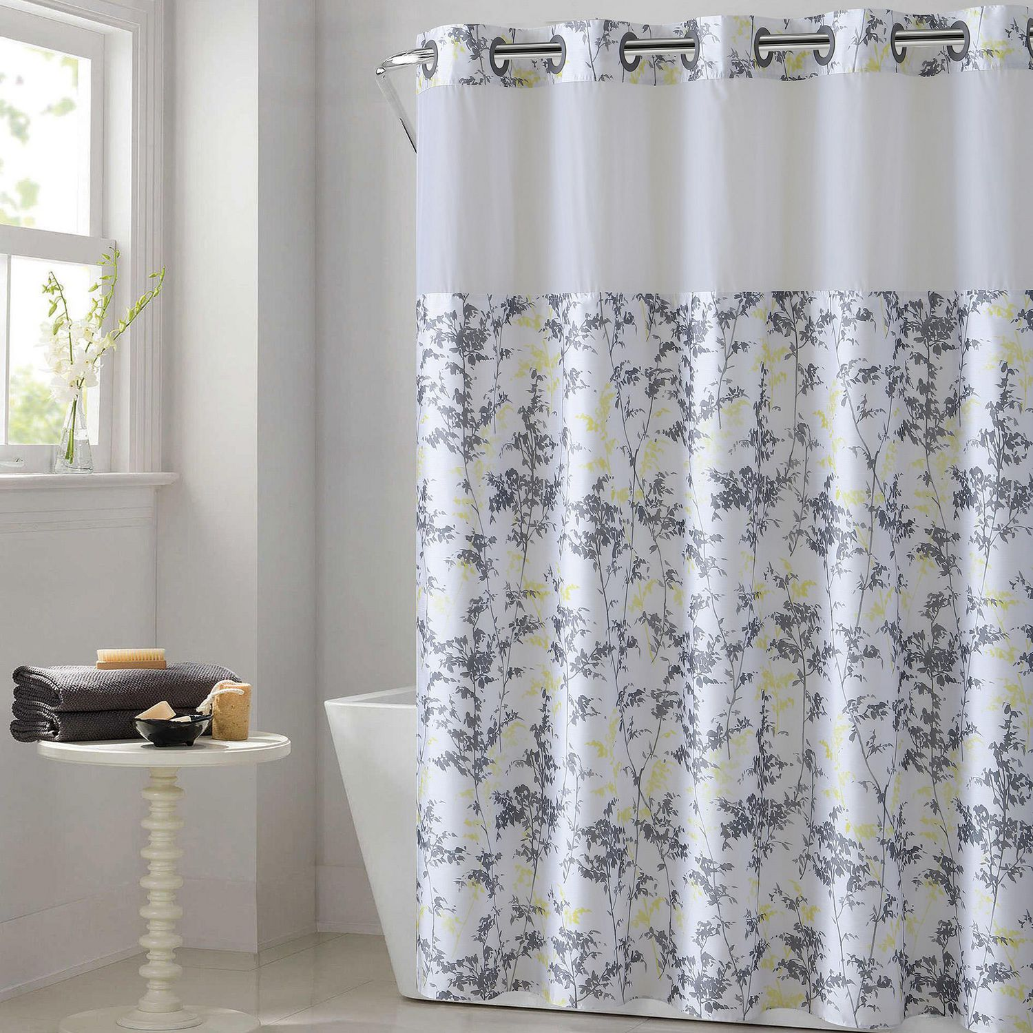 Hookless Floral Leaves Print Shower Curtain With Fabric Liner