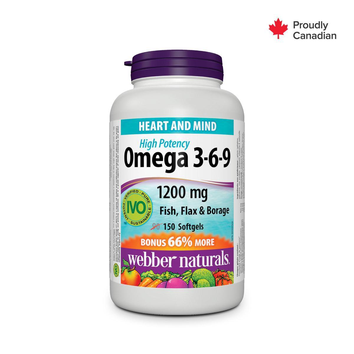 Webber Naturals Omega 3 6 9 High Potency Fish Flax Borage
