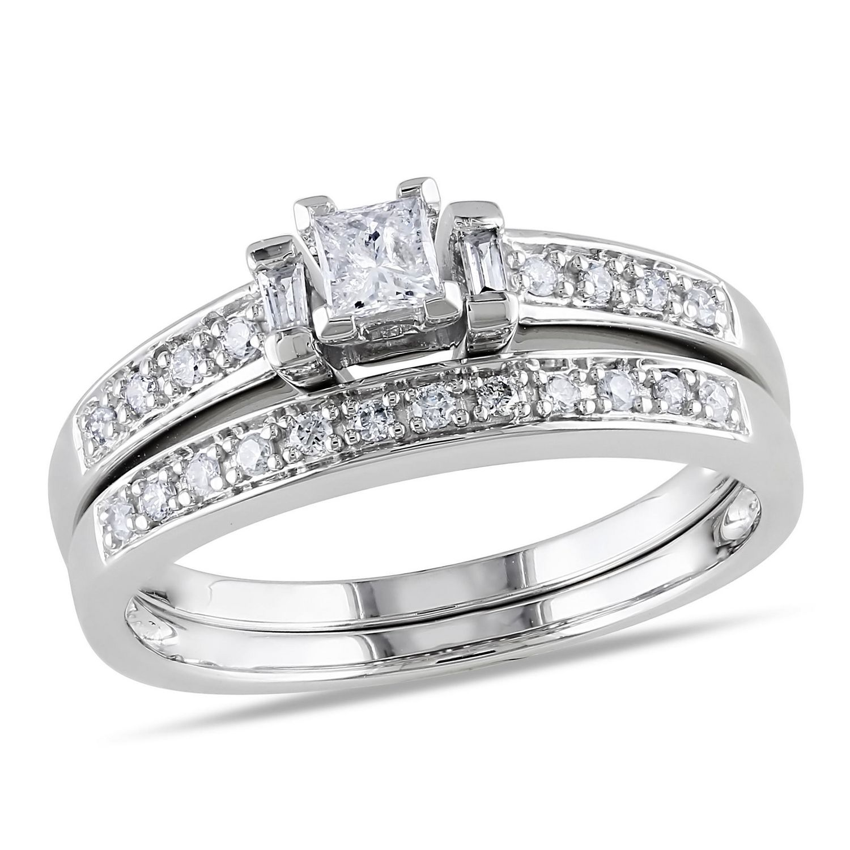 walmart jewelry wedding sets Miabella 0 33 Carat T W Princess Baguette and Round Cut Diamond 10 K White Gold Bridal Set Walmart ca
