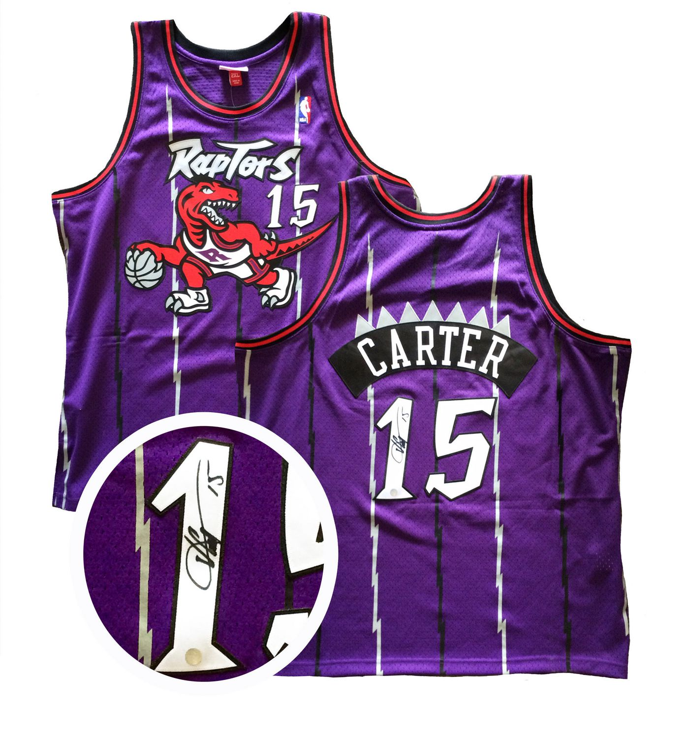huge discount f28a7 c9e35 Vince Carter Signed Jersey Raptors Replica Purple 1995-1998 ...