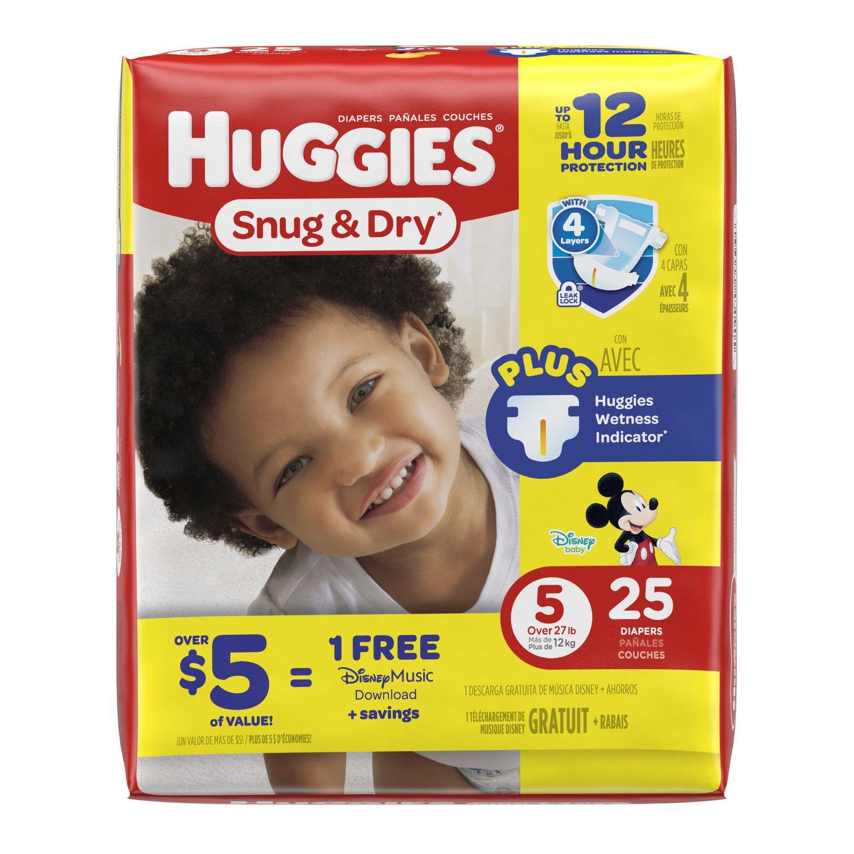 Huggies Snug /& Dry Diapers Size 5 Packaging May Vary 88 Ct 27+ lb. Giga Jr Pack