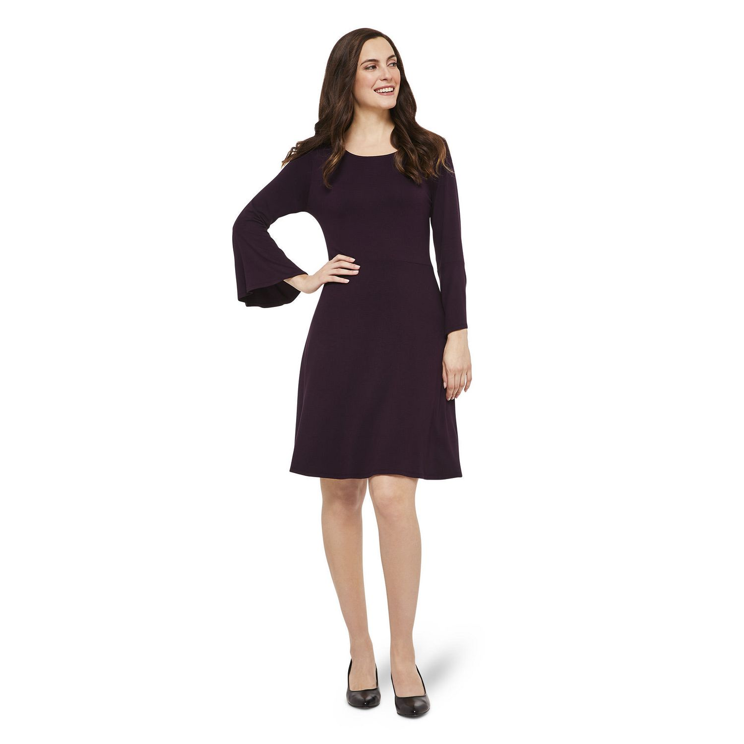 George Women S Skater Dress With Bell Sleeves Walmart Canada