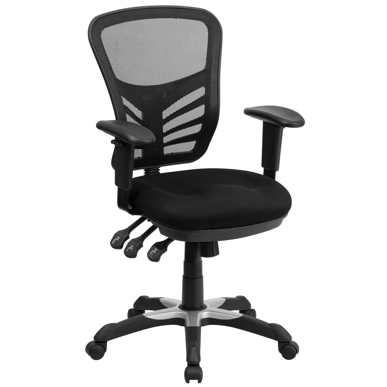 À De Accoudoirs Pivotante Filet Mi Dos Ajustables Bureau Dossier Multifonction Flash Noir Chaise En Avec Furniture H9EDW2I