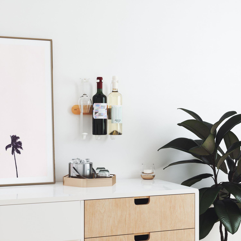 Support A Bouteille De Vin Mural umbra showvino wine display. porte-bouteille de vin et verre À pied.  dimension 26.6x8x8x30cm. en bois et métal.