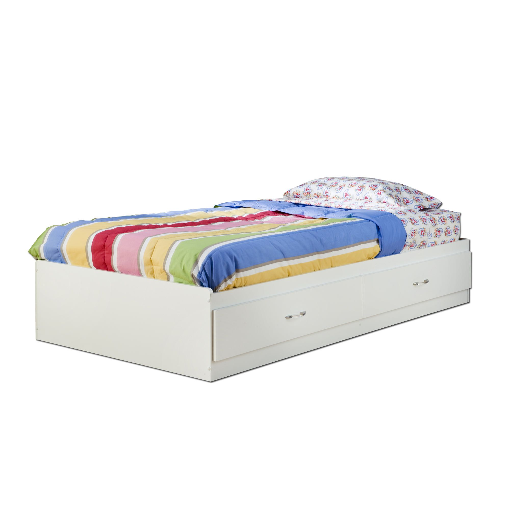 White twin bed with drawers - South Shore Logik Twin Mates Bed With Drawers Walmartca