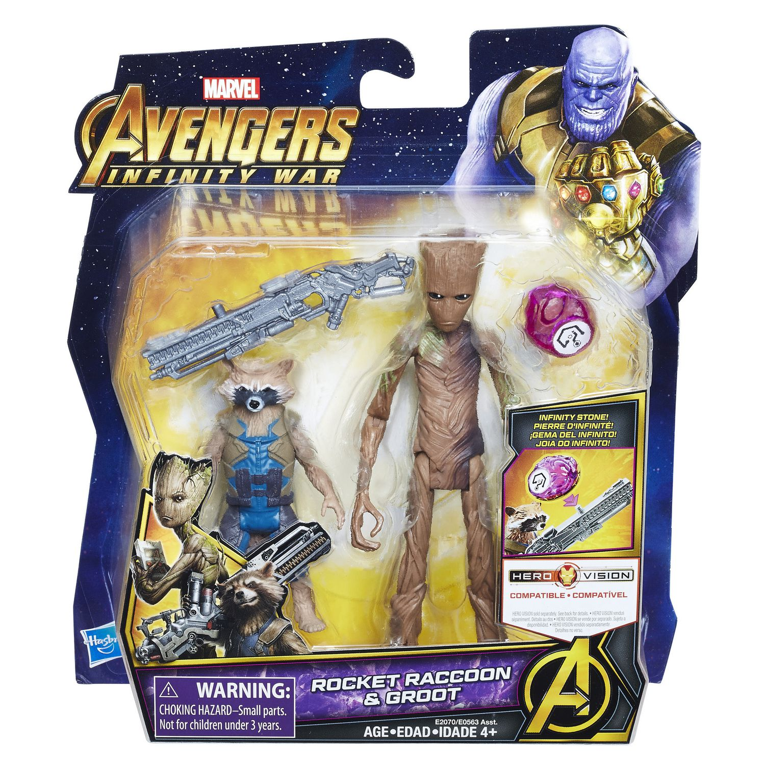 Marvel Avengers Infinity War Rocket Raccoon and Groot With Infinity Stone New