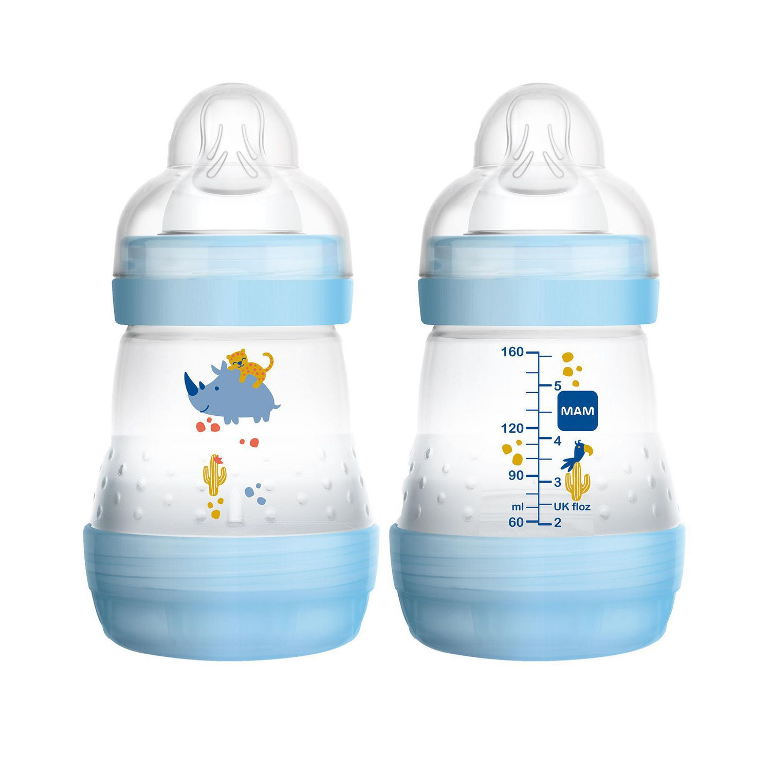 MAM ANTI COLIC BPA FREE bottle SET OF 3 Blue from Birth 2+