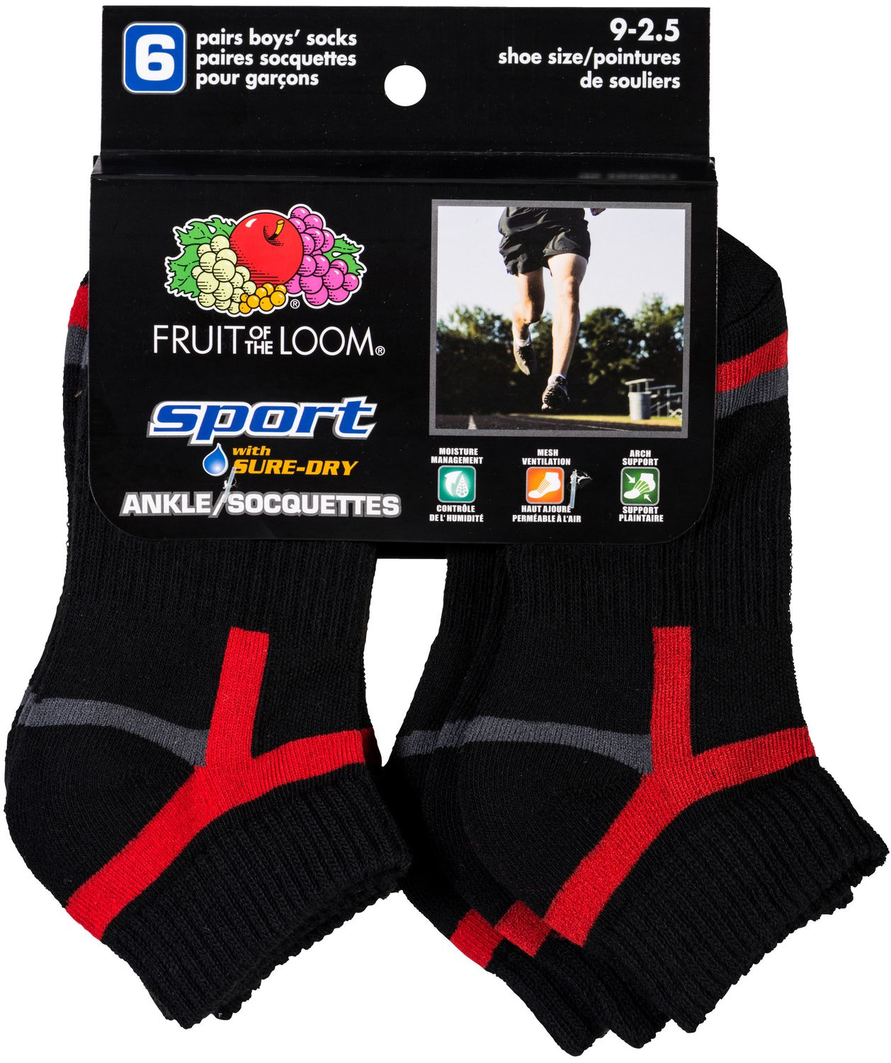 Assorted Fruit of the Loom Boy/'s 10 Pack Ankle Socks
