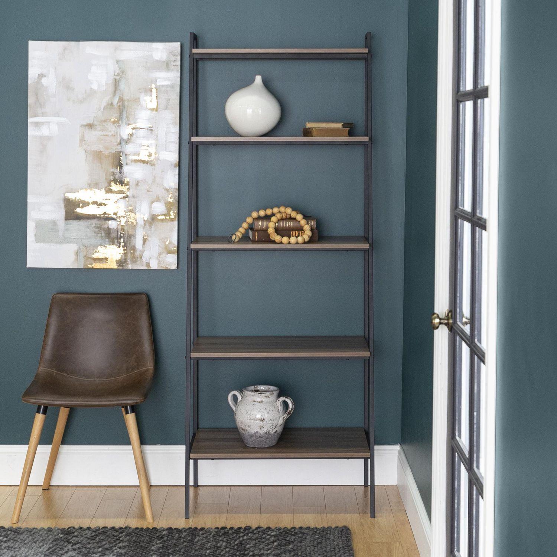 Manor Park 5 Shelf Industrial Ladder Bookcase Multiple Finishes