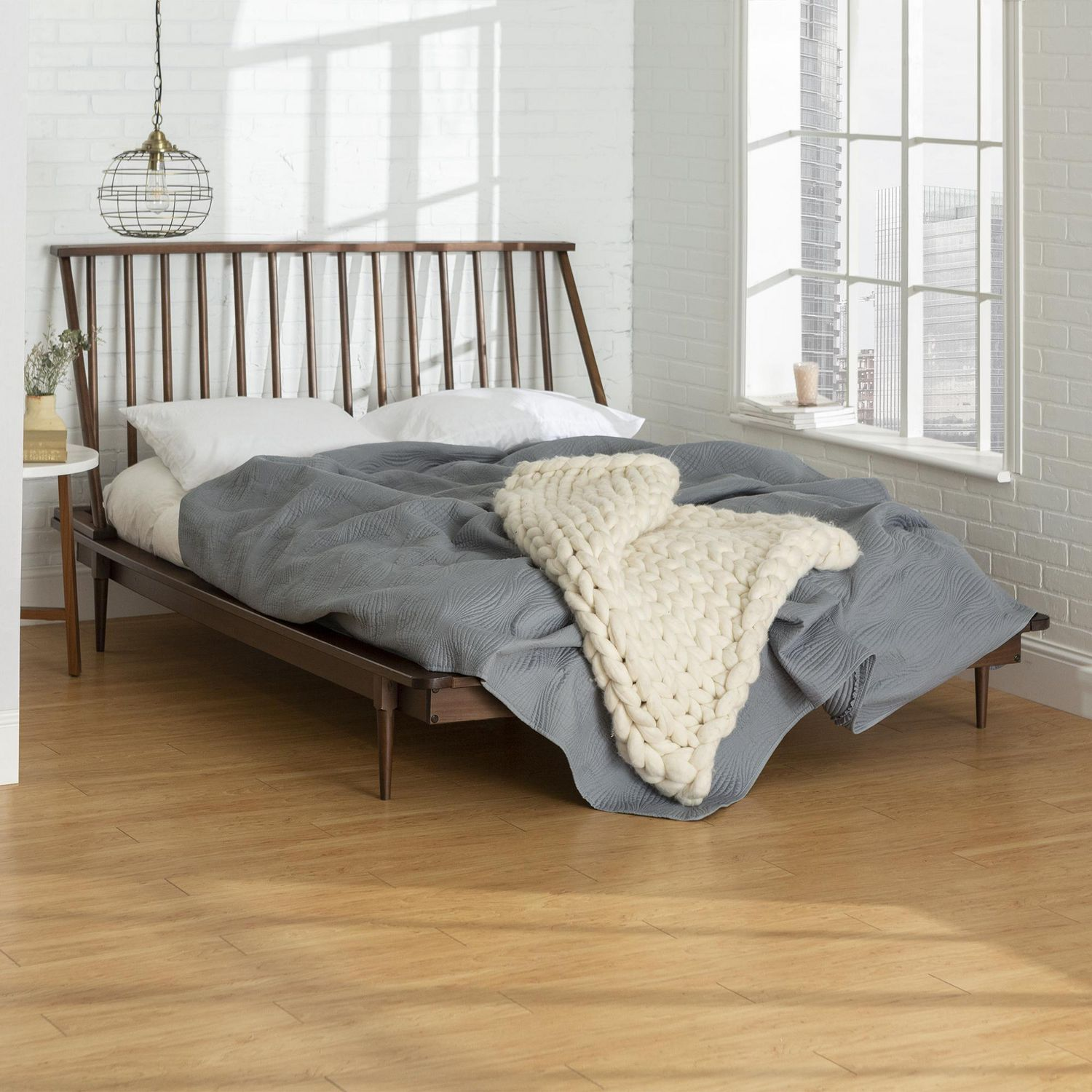 Manor Park Boho Mid Century Modern Wood Queen Spindle Bed Multiple Finishes Walmart Canada