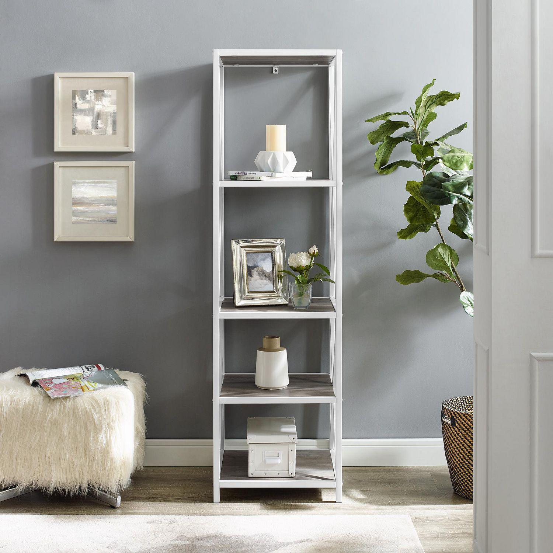 Manor Park 4 Shelf Metal Wood Bookcase Grey Wash White