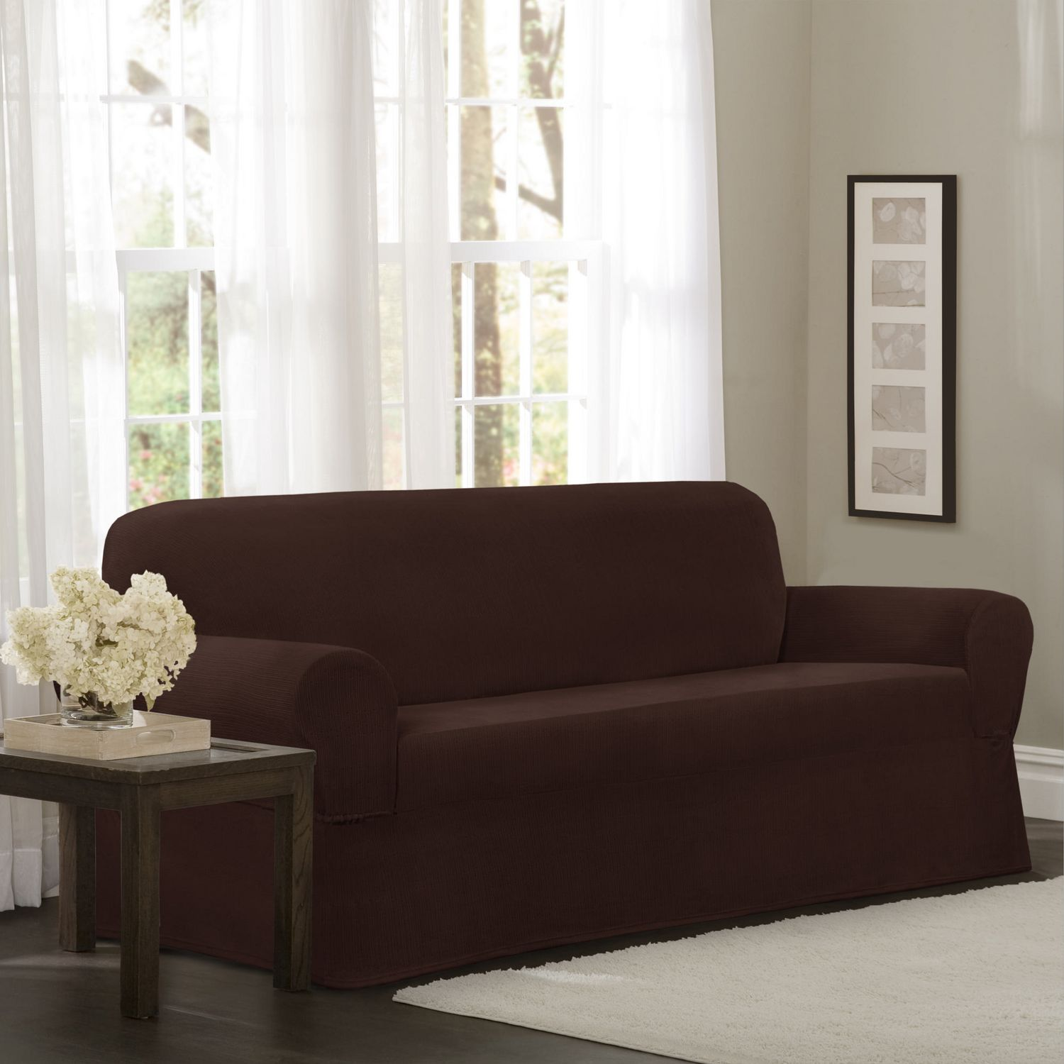 Admirable Mainstays Newman Stretch 1 Piece Sofa Slipcover Burgundy Camellatalisay Diy Chair Ideas Camellatalisaycom