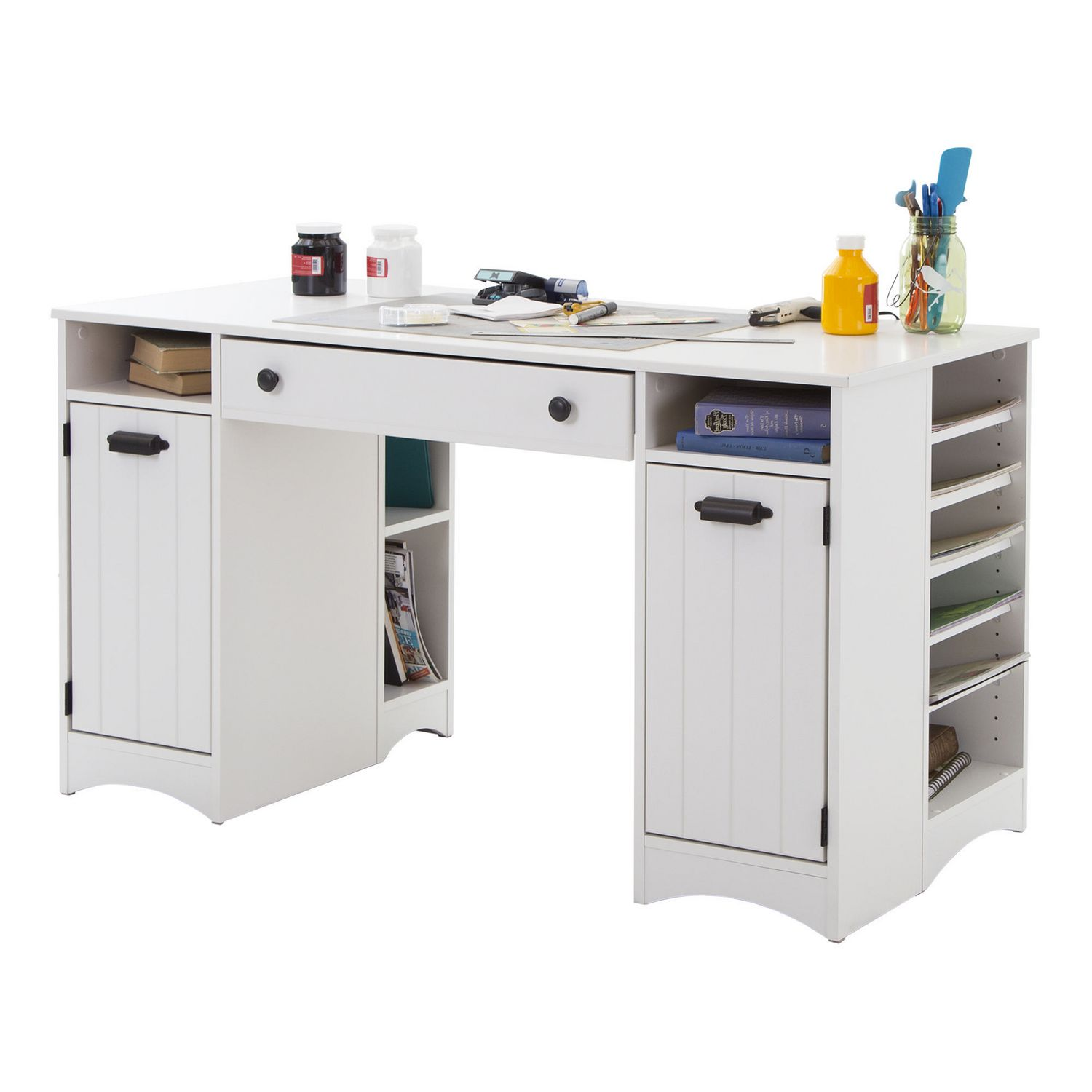 South Shore Artwork Craft Table With Storage Pure White Walmart Canada
