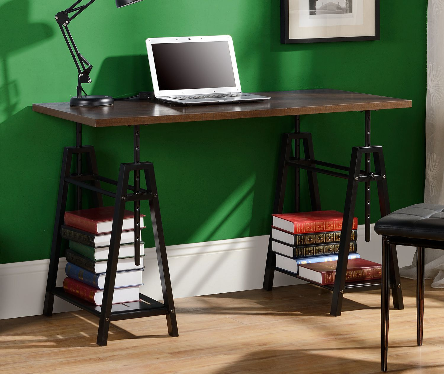 Marvelous Homestar Height Adjustable Desk In Distressed Mocha Ocoug Best Dining Table And Chair Ideas Images Ocougorg