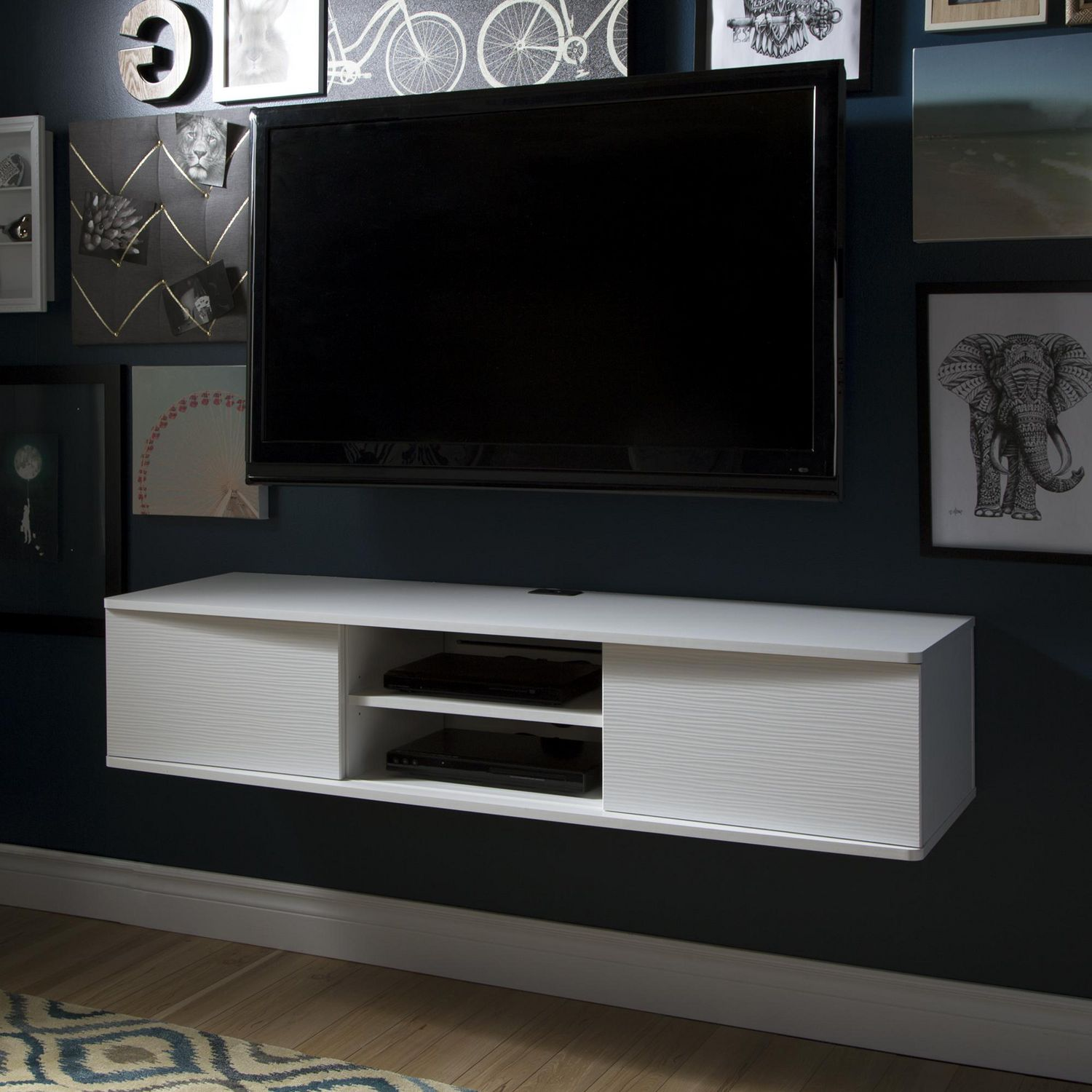 South Shore Agora Wide Wall Mounted Media Console, 56 inch ...