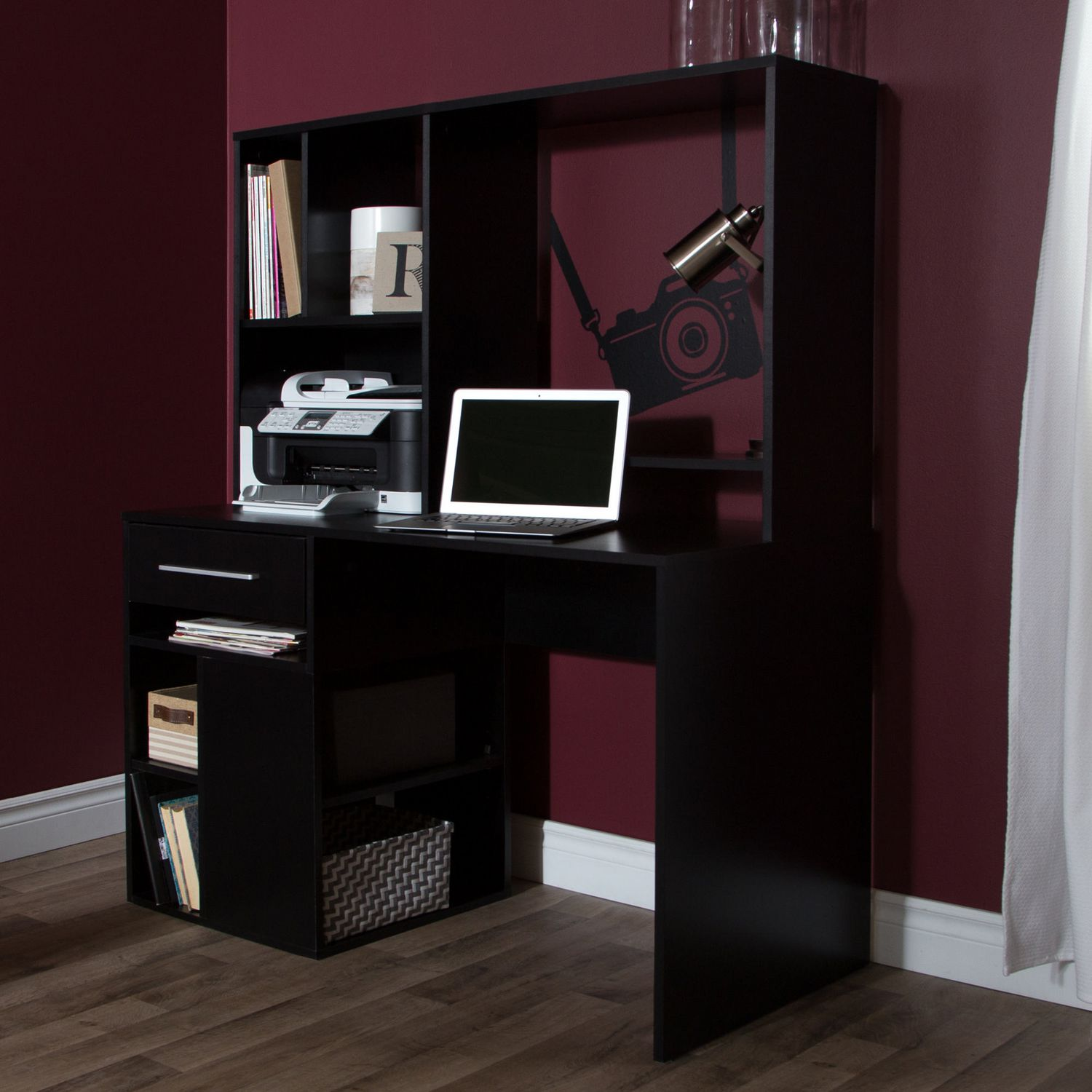 keyboard black hutch plus floor furniture interior cabinet file narrow corner station drawers desk magnificent storage computer for on placed wooden also and with home office shelf book as tall well