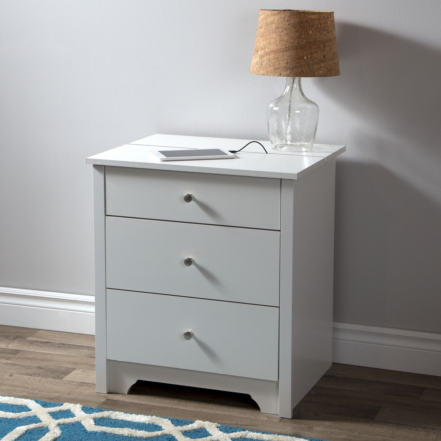 south shore vito nightstand with charging station and drawers walmart canada