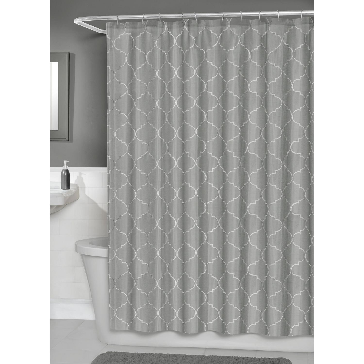 Transparent cloth shower curtain - Hometrends Concord Fabric Shower Curtain With Peva Liner