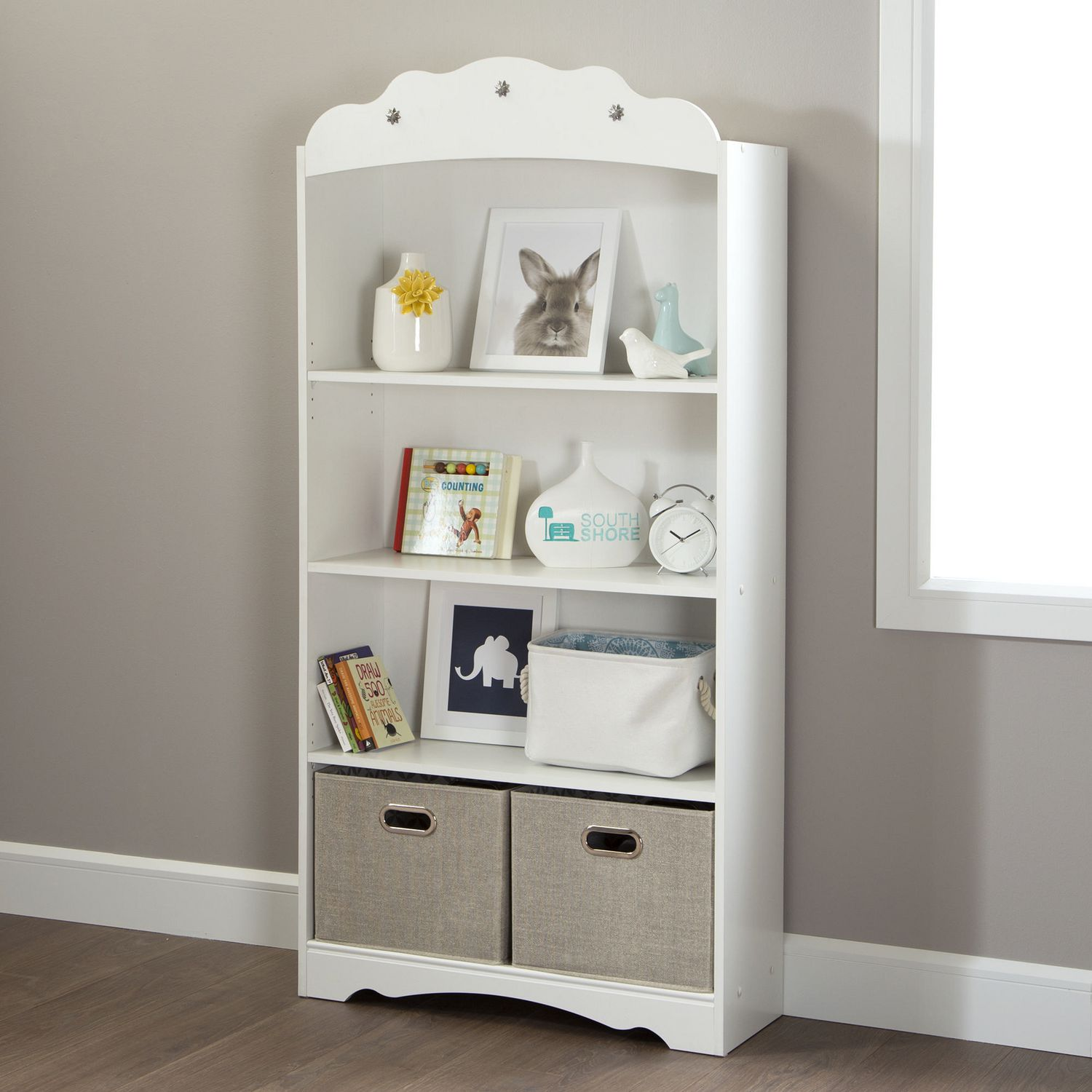 white find doherty south shore bookcase shelf house how to