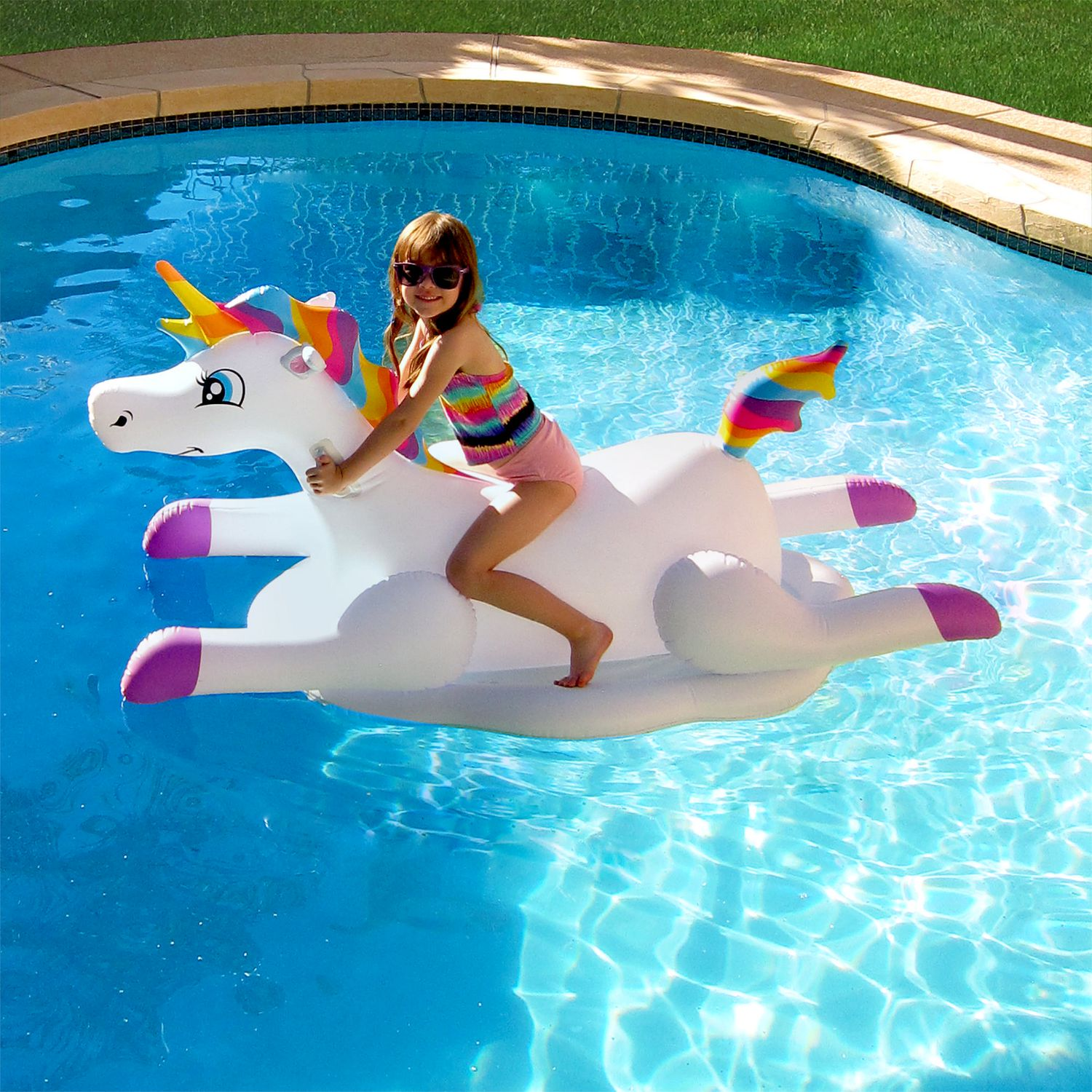 Blue Wave Cloud Rider Rainbow Unicorn Inflatable Ride Pool