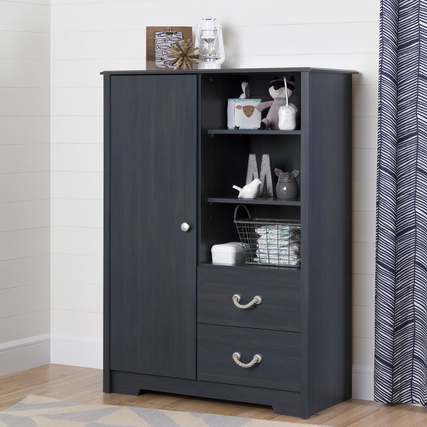 South Shore Aviron Armoire with Drawers - Blueberry ...