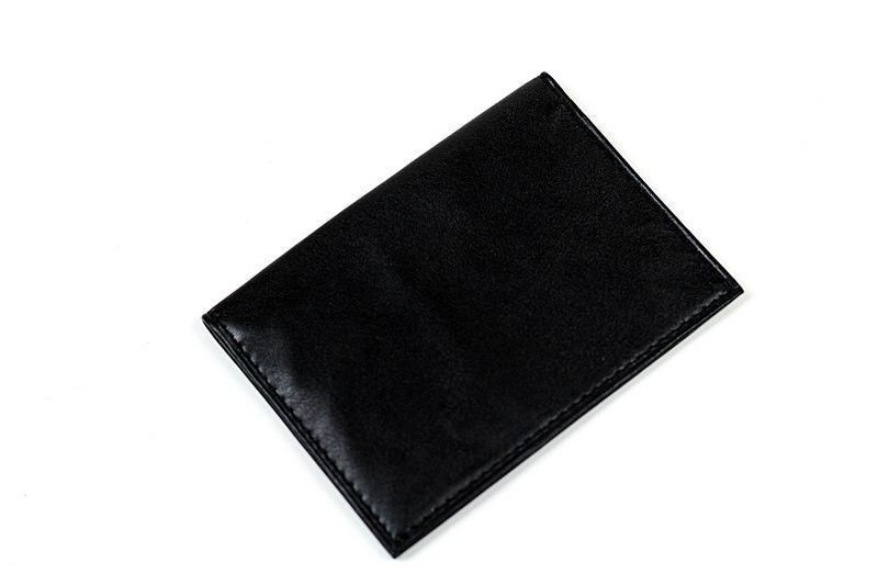Black leather card and ID case, made by Champs Express