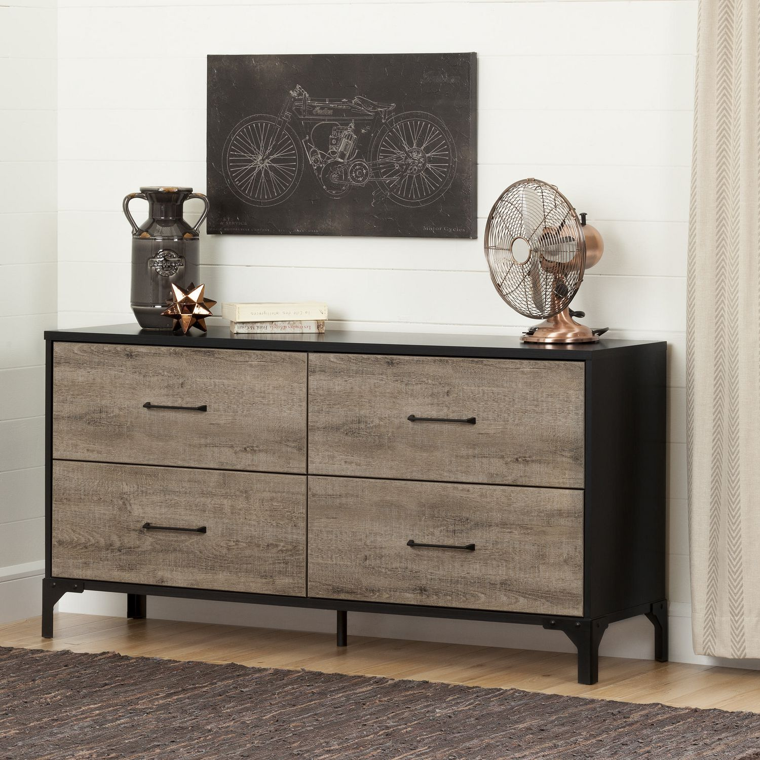 c83117d6d45 South Shore Valet Weathered Oak and Ebony 4-Drawer Double Dresser ...