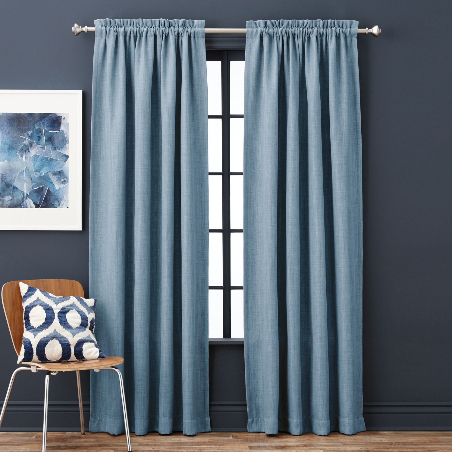 pencil half damask window pleat picture curtain p blue of flock luxury curtains pair x
