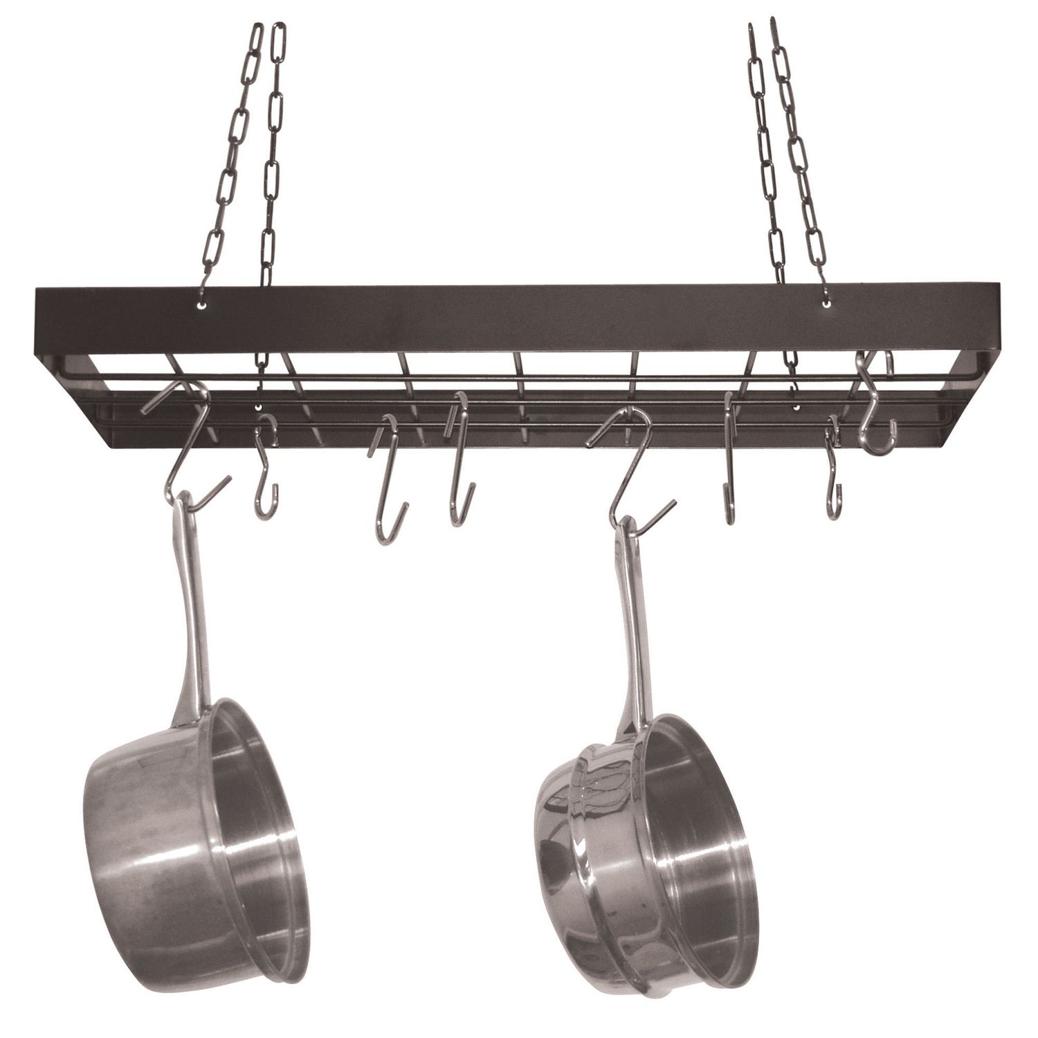 standing update hooks lighting utility style f in and lights steel kitchen rack pot pan lighted your shelf with stainless hanger lowes island
