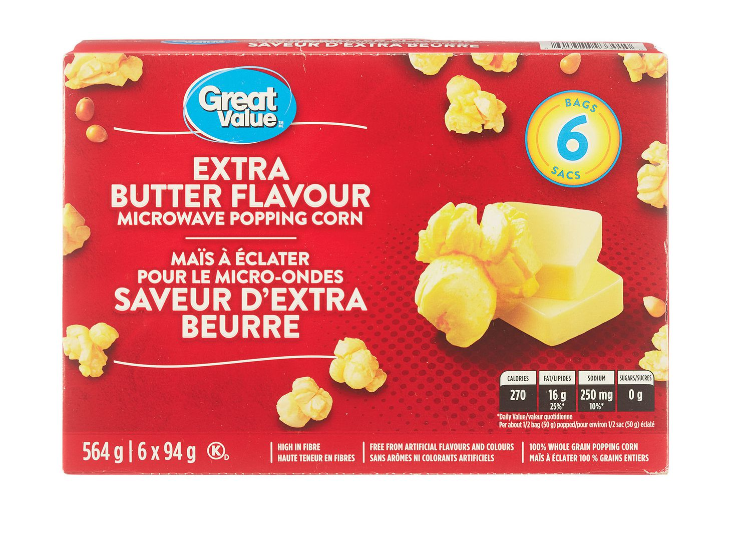 Great Value Extra Butter Flavor Microwave Popcorn